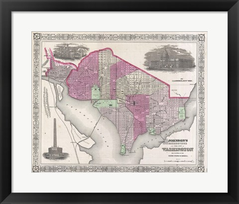 Framed 1864 Johnson Map of Washington D.C. and Georgetown Print
