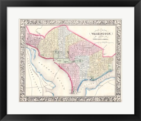 Framed 1864 Mitchell Map of Washington D.C. Print