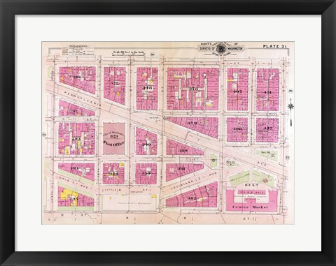 Framed 1909 map of Downtown Washington, D.C. Print