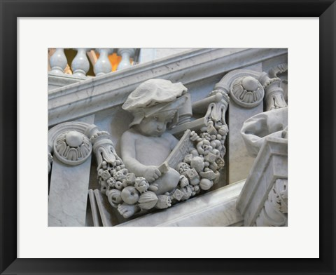 Framed Library of congress architecture detail child reading Print
