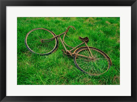 Framed High angle view of an old bicycle Print