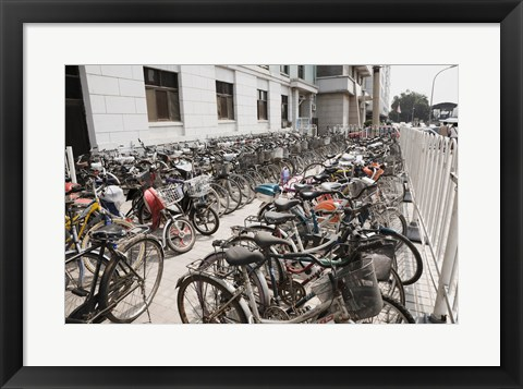 Framed Bicycles parked outside a building, Beijing, China Print