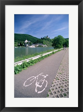 Framed Cycle, Bicycle Path and Two Cyclists, Town View, Beilstein, Mosel Valley, Rhineland, Germany Print