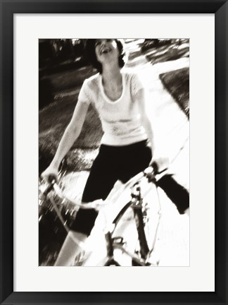 Framed Young woman riding a bicycle - black & white Print