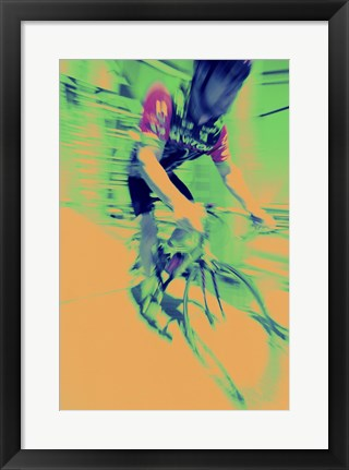 Framed Young man riding a bicycle - yellow Print