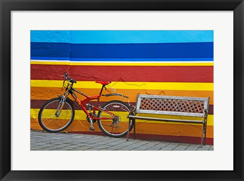 Framed Bicycle near a bench, Iceland Print