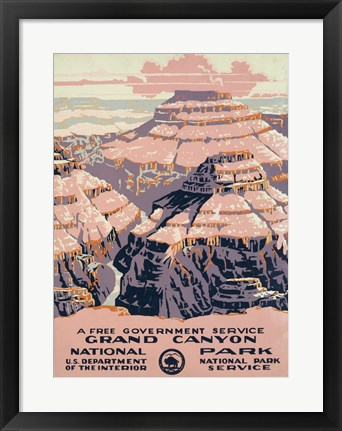 Framed Grand Canyon National Park, a free government service Print