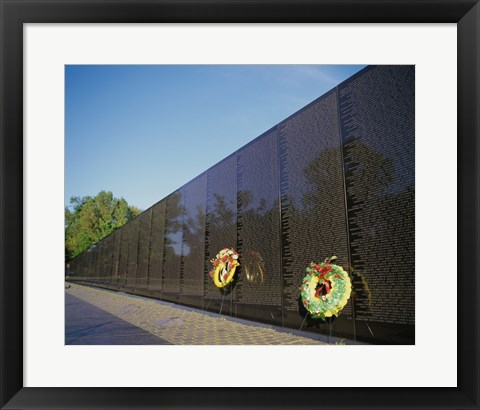 Framed Wreaths on the Vietnam Veterans Memorial Wall, Vietnam Veterans Memorial, Washington, D.C., USA Print