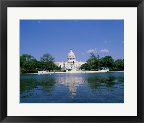 Framed Pond in front of the Capitol Building, Washington, D.C., USA Print