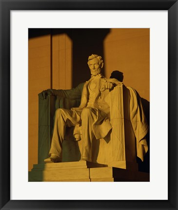 Framed Low angle view of a statue, Lincoln Memorial, Washington DC, USA Print