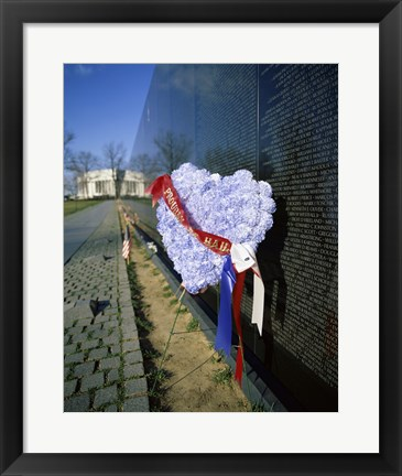 Framed Close-up of a memorial, Vietnam Veterans Memorial Wall, Vietnam Veterans Memorial, Washington DC, USA Print