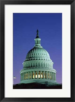 Framed Capitol Building lit up at night, Washington D.C., USA Print