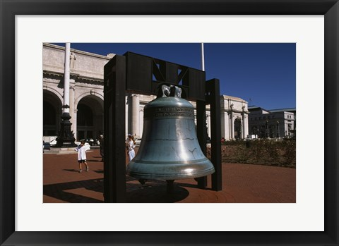 Framed Large bell in front of a railway station, Union Station, Washington DC, USA Print
