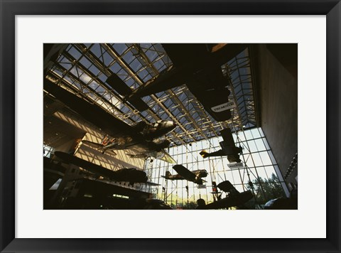 Framed Low angle view of airplanes in a museum, National Air and Space Museum, Washington DC, USA Print