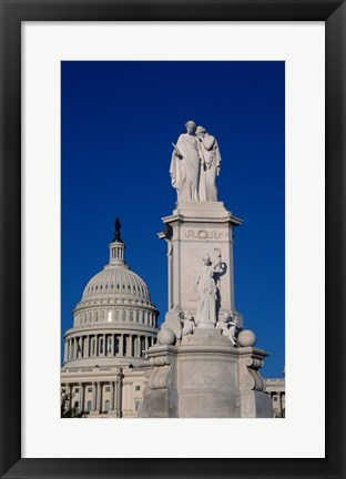 Framed Monument in front of a government building, Peace Monument, State Capitol Building, Washington DC, USA Print