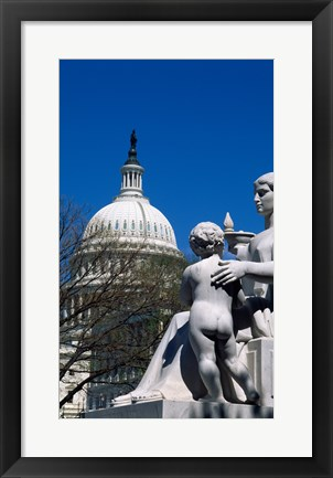 Framed Spirit of Justice statue in front of a government building, State Capitol Building, Washington DC, USA Print