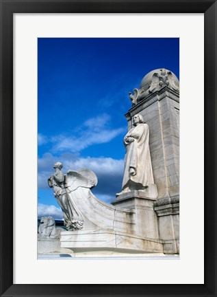 Framed Statue of Christopher Columbus in front of railroad station, Union Station, Washington DC, USA Print