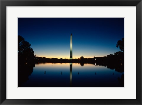 Framed Reflection of an obelisk on water, Washington Monument, Washington DC, USA Print