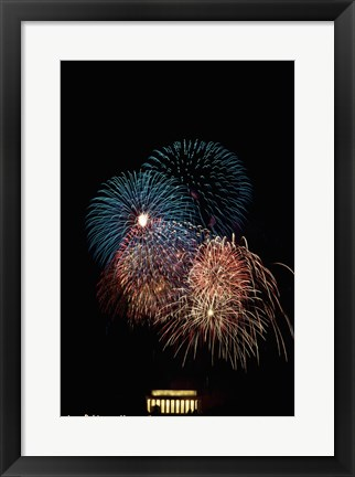Framed Fireworks display at night with a memorial in the background, Lincoln Memorial, Washington DC, USA Print