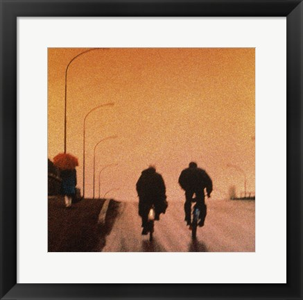 Framed Biking at dusk Print