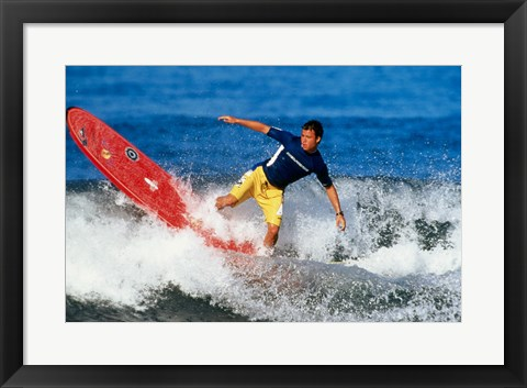 Framed Surfing in the water Print