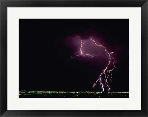 Framed Lightning over a city Print