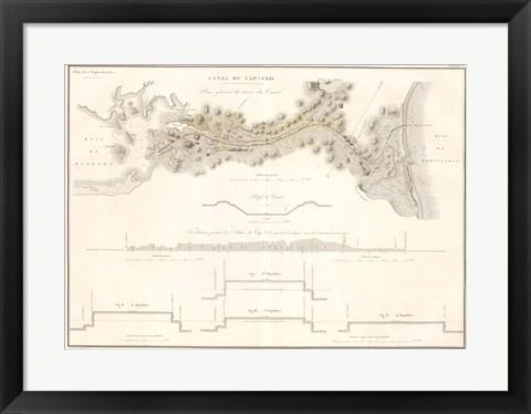 Framed Canal du Cape-Cod Massachusetts, 1834 map Print