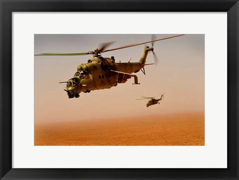 Framed Afghan Air Corps Mi-35 helicopters Print