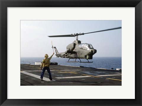 Framed AH-1T Sea Cobra helicopter Print