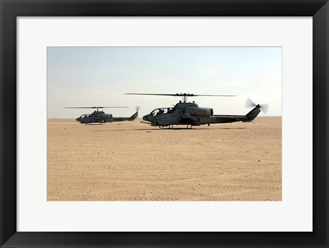 Framed AH-1W Super Cobras Print