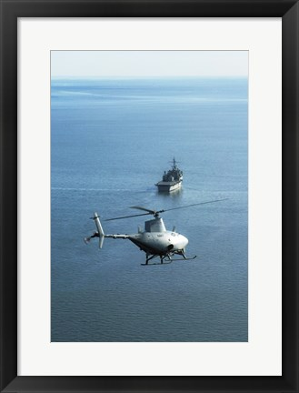 Framed Fire Scout unmanned helicopter Print
