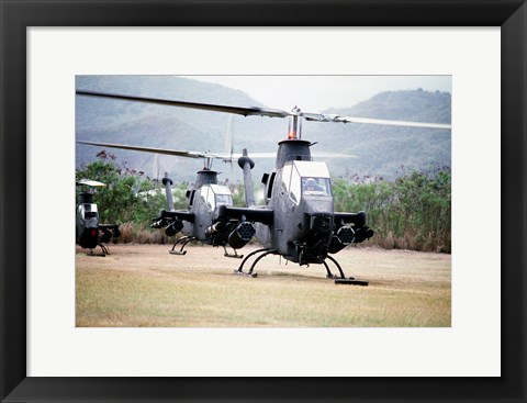 Framed Three AH-1 Cobra gunship helicopters Print