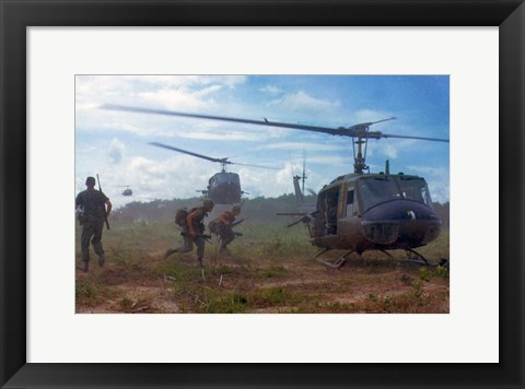 Framed UH-1D helicopters in Vietnam 1966 Print