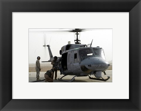 Framed US Marine Corps UH-1N Huey helicopter Print