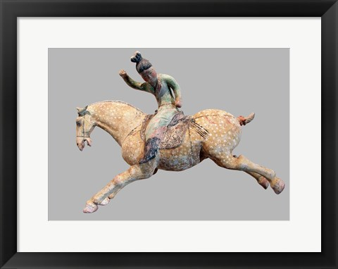 Framed ceramic female polo player, from northern China, Tang Dynasty Print