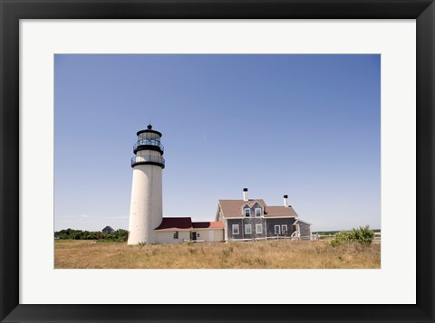 Framed Lighthouse in a field, Cape Cod Lighthouse (Highland), North Truro, Massachusetts, USA Print
