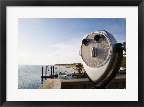 Framed Close-up of coin-operated binoculars, Cape Cod, Massachusetts, USA Print