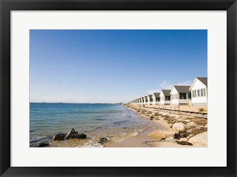 Framed Beach huts in row, Cape Cod, Massachusetts, USA Print