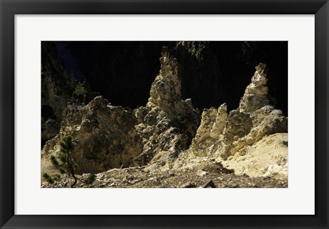 Framed Rock formations at a canyon, Grand Canyon of the Yellowstone, Yellowstone River, Yellowstone National Park, Wyoming, USA Print