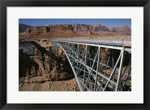 Framed Bridge across a river, Navajo Bridge, Colorado River, Grand Canyon National Park, Arizona, USA Print