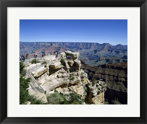 Framed High angle view of tourists at an observation point, Grand Canyon National Park, Arizona, USA Print