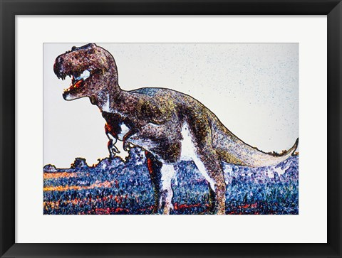 Framed Colorful Close-up of a tyrannosaurus rex Print