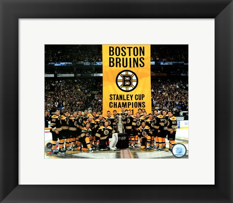 Framed Boston Bruins raise their 2011 Stanley Cup Chapionship Banner Print