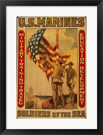 Framed U.S. Marines - Soldiers of the sea Print