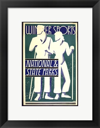 Framed Winter sports, national & state parks Print