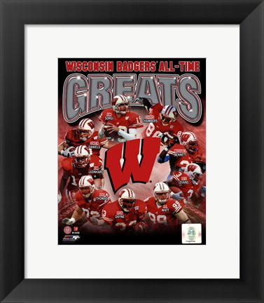 Framed University of Wisconsin Badgers All Time Greats Composite Print