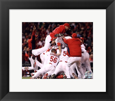 Framed St. Louis Cardinals Celebrate Winning World Series in Game 7 of the 2011 World Series (Celebration #2) Print