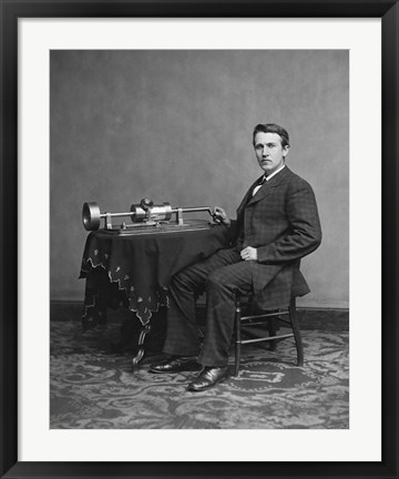 Framed Edison and phonograph Print