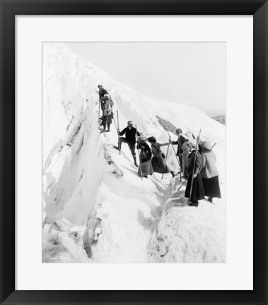 Framed Group of men and women climbing Paradise Glacier in Mt. Rainier National Park, Washington Print