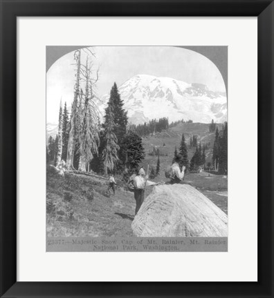 Framed Washington - Mount Rainier - resting at Camp Muir, before Gibralter Rock 1922 Print